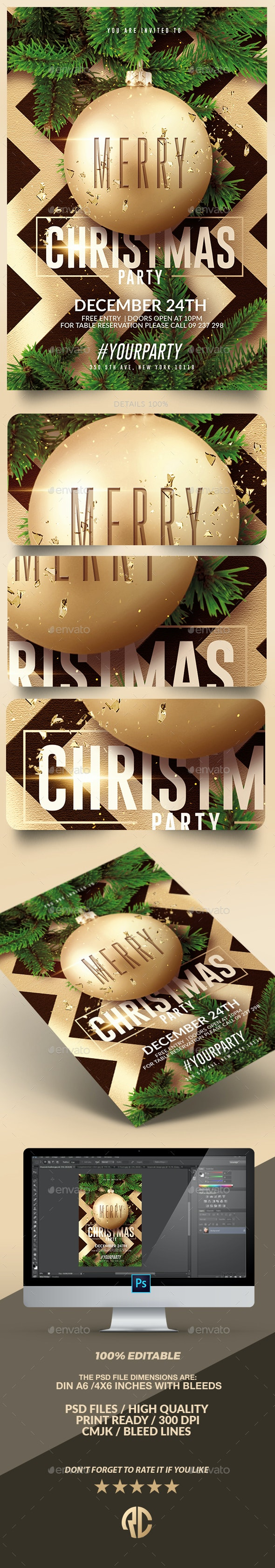 Classy Christmas Party | Psd flyer Template - Print Templates
