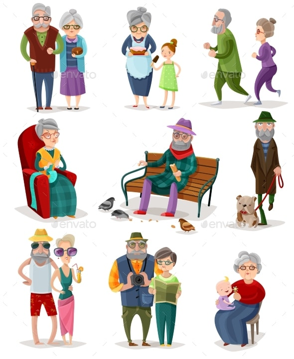 Senior People Cartoon Set - People Characters