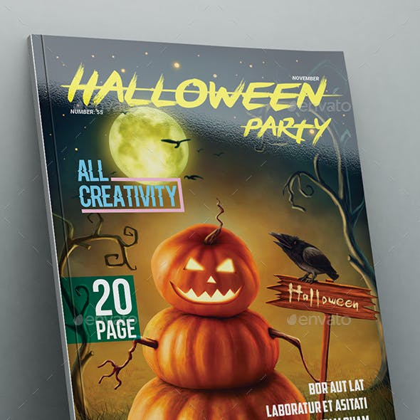 Hallowen Party Magazine Template 20 Page