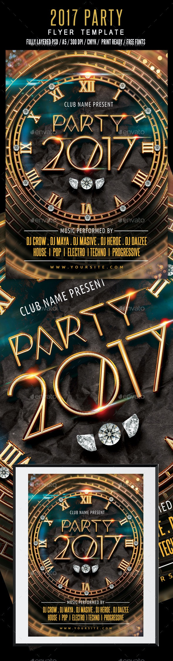 New Year 2017 Party Flyer Template - Events Flyers