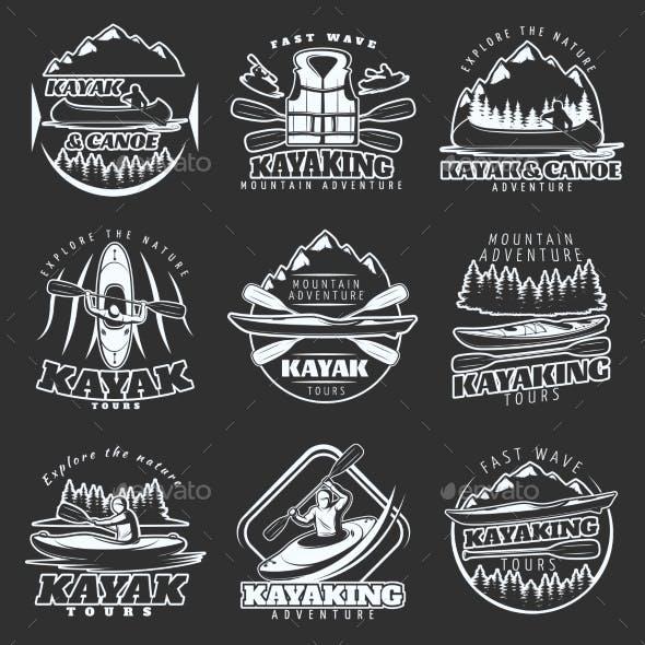 Kayaking Tours Emblem Set