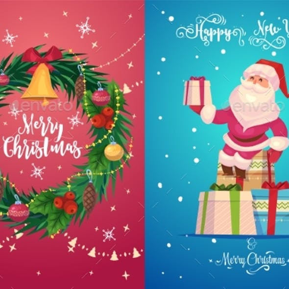 Christmas Greeting Card Background Poster. Vector