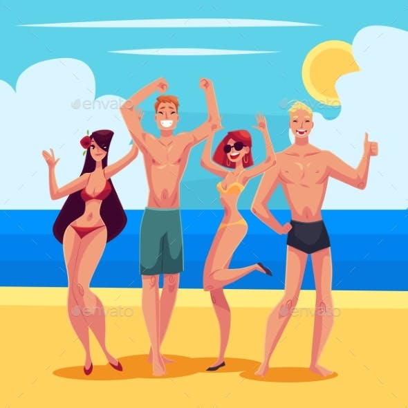 People Dancing on the Beach in Swimming Suits