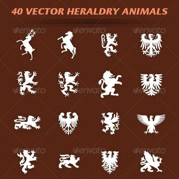 40 Vector Heraldry Animals