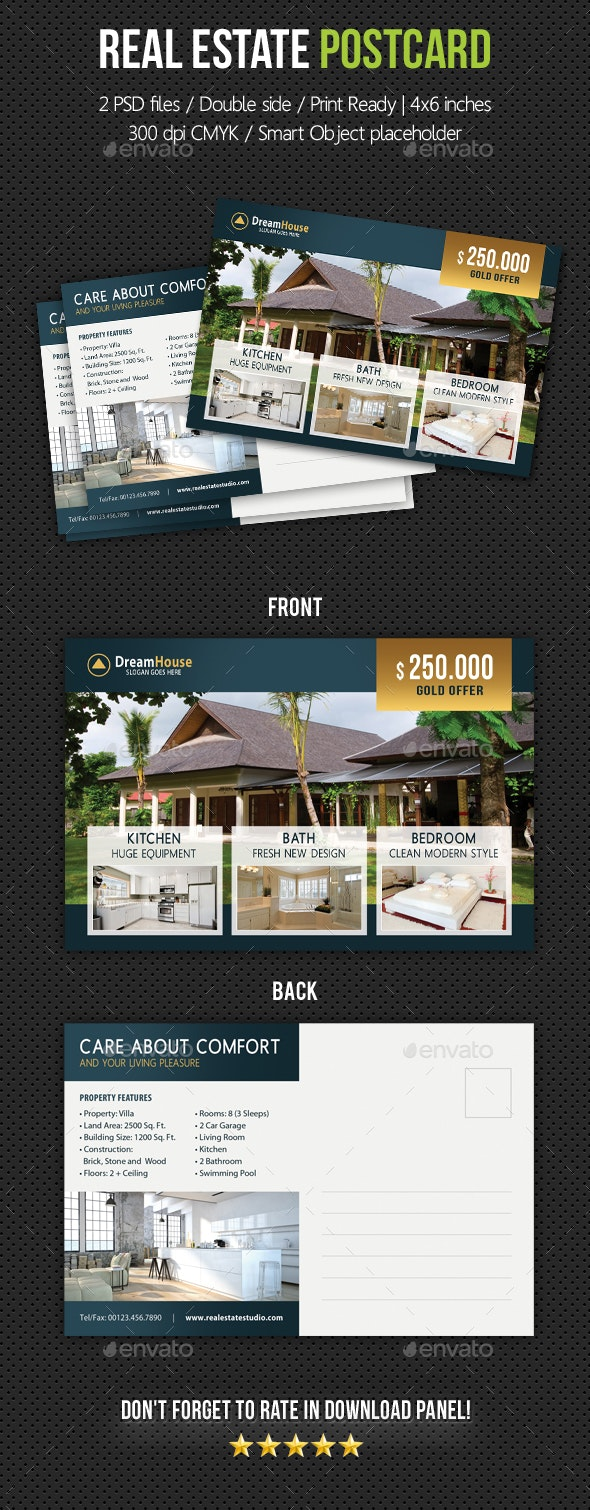 Real Estate Postcard Template V02 - Cards & Invites Print Templates