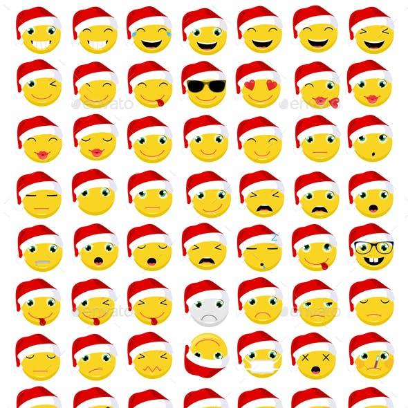 Christmas Emoticons / Emoji Vector Set