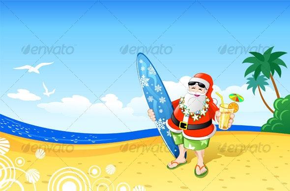 Christmas Santa on the Beach - People Characters