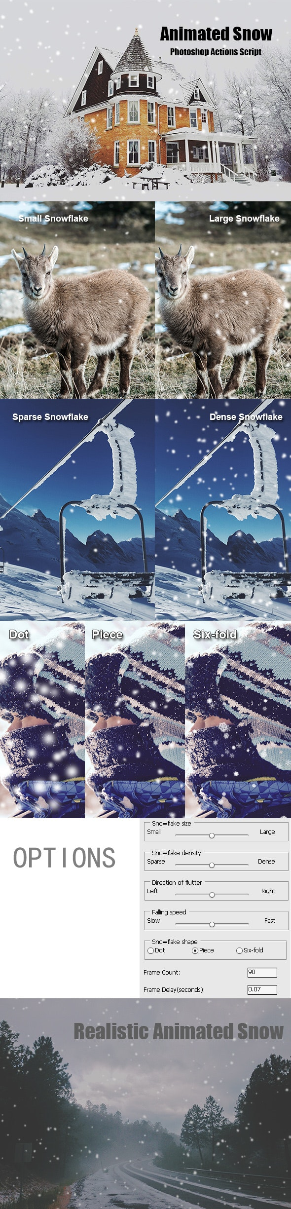 Animated Snow Photoshop Add-on - Photo Effects Actions