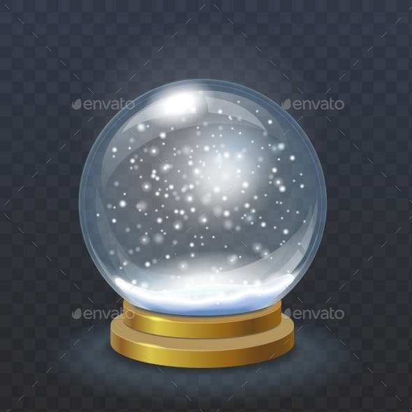 Realistic Christmas Snow Globe Isolated