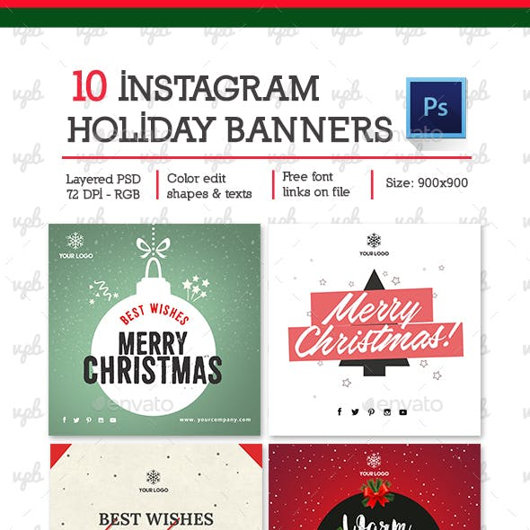 10 Christmas - Holiday Instagram Banners