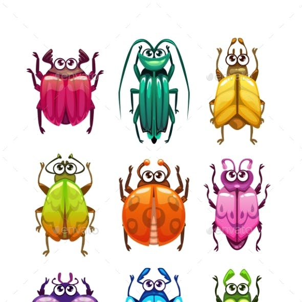 Funny Cartoon Fantasy Bugs Set.