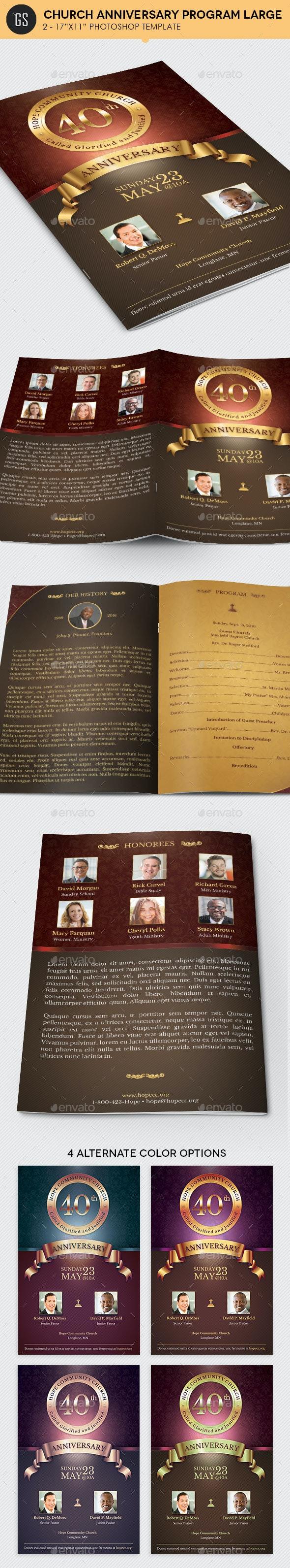 Church Anniversary Program Large Template - Informational Brochures
