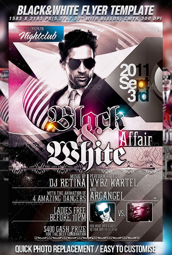 Black & White Flyer Template - Clubs & Parties Events