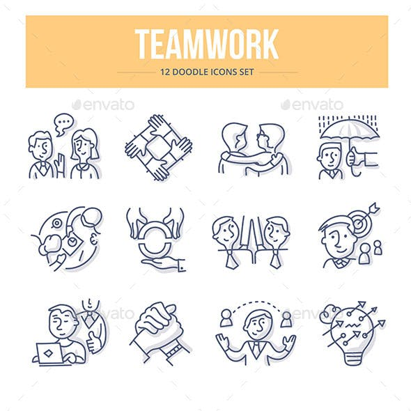 Teamwork Doodle Icons