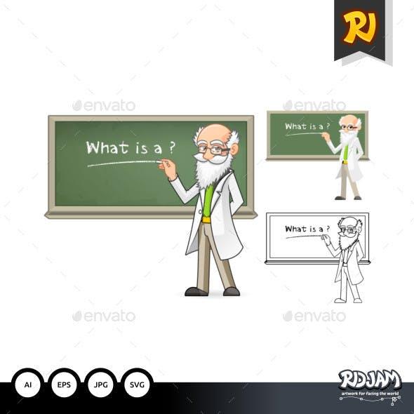 Scientist Cartoon Character Holding Chalk
