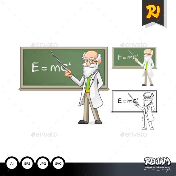 Scientist Cartoon Character Holding a Pointer Stick