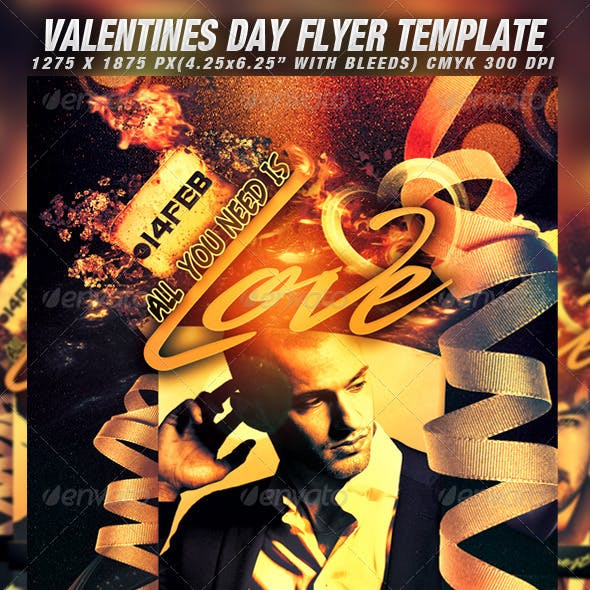 Valentines Day Party Flyer Template v.3