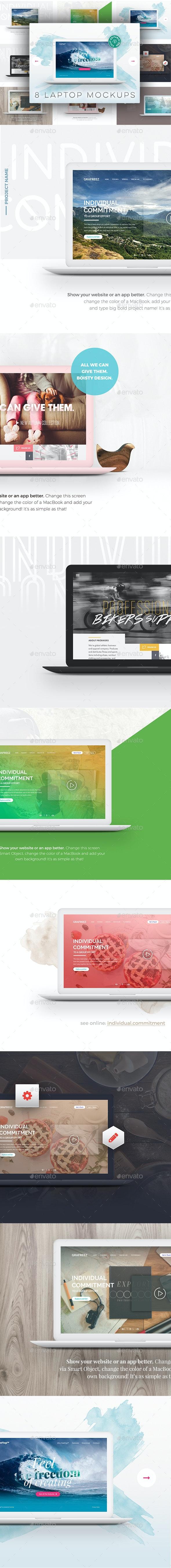 8 Editable Laptop Mockups - Product Mock-Ups Graphics