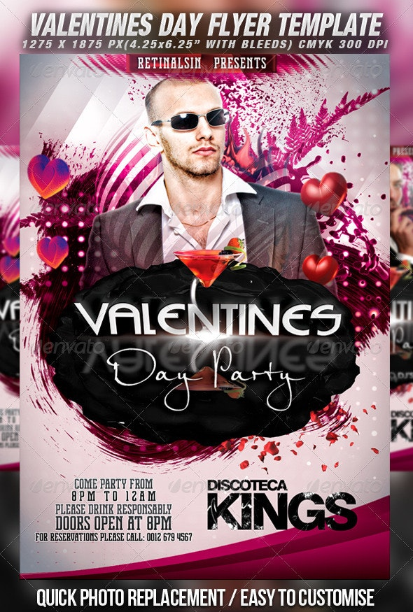 Valentines Day Party Flyer Template v.2 - Clubs & Parties Events
