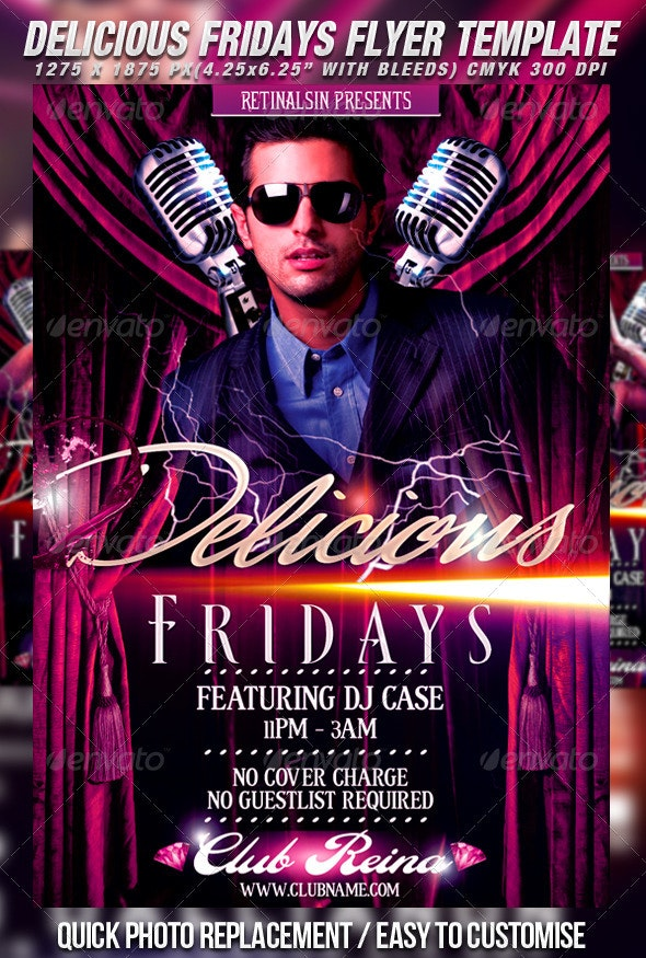 Delicious Fridays Flyer Template - Clubs & Parties Events