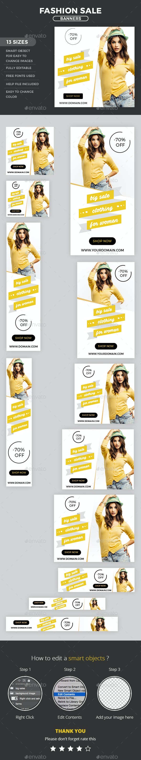 Fashion Web Banners - Banners & Ads Web Elements