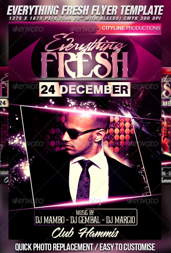 Everything Fresh Flyer Template - Clubs & Parties Events