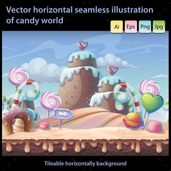 Candy World - Horizontal Seamless Illustration