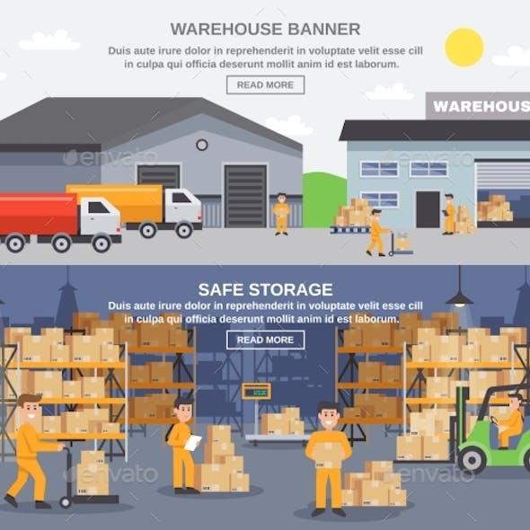 Warehouse Flat Horizontal Banners