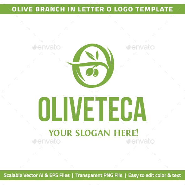 """Olive Branch in Letter """"O"""" Logo Template"""