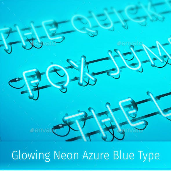 Glowing Neon Azure Blue Type