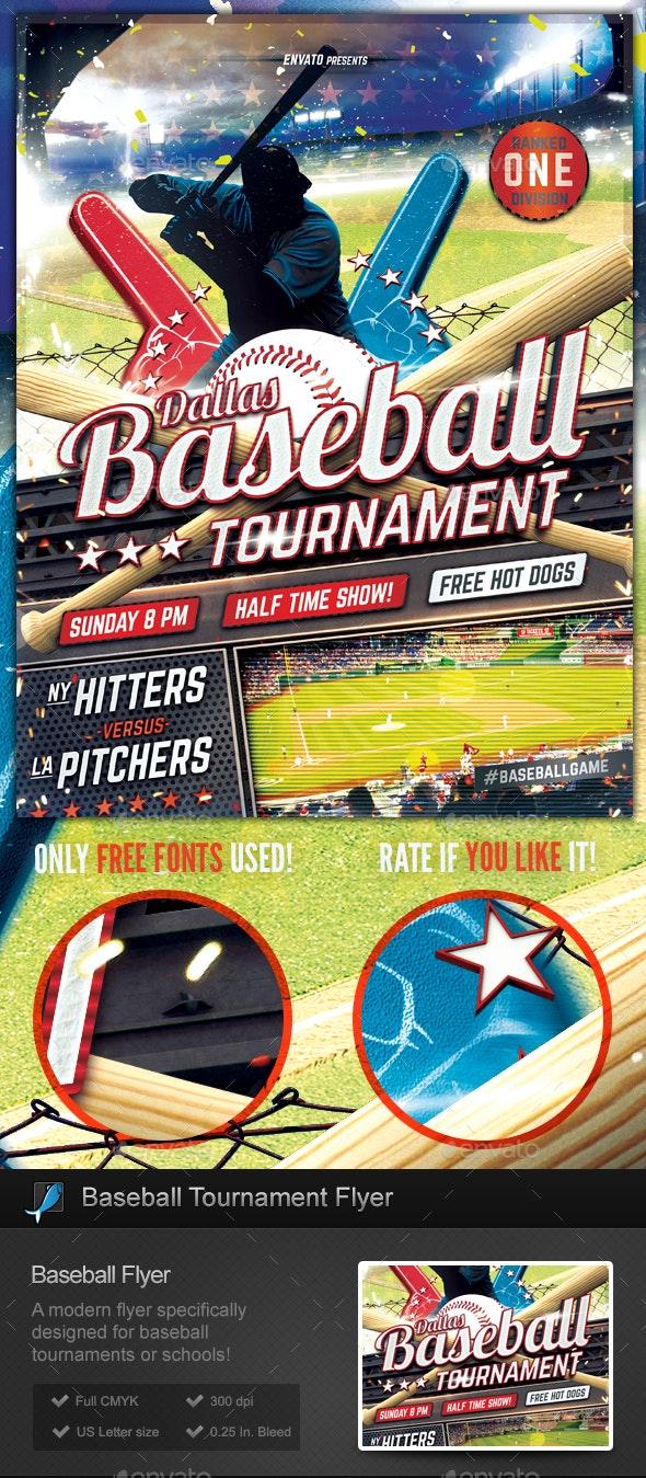 Baseball Tournament Flyer Template - Sports Events