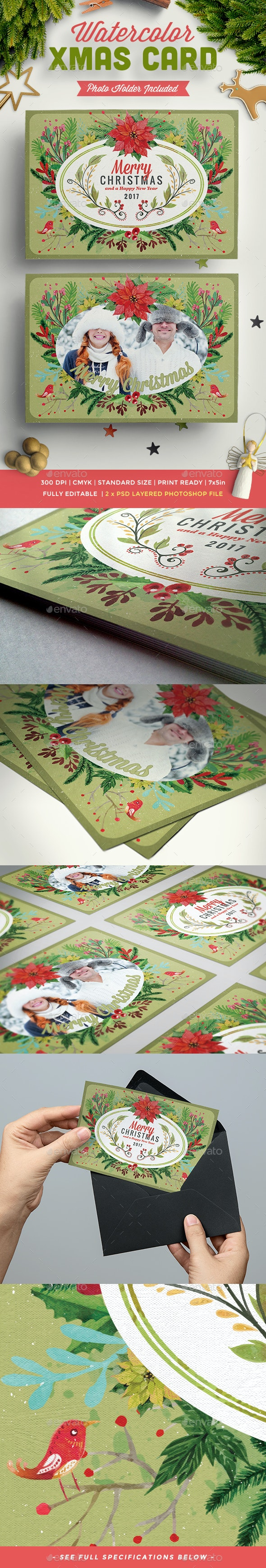 Watercolor Floral Christmas Postcards - Greeting Cards Cards & Invites