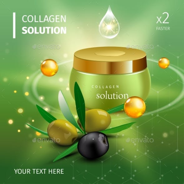 Realistic Collagen Cream Bottle on Green