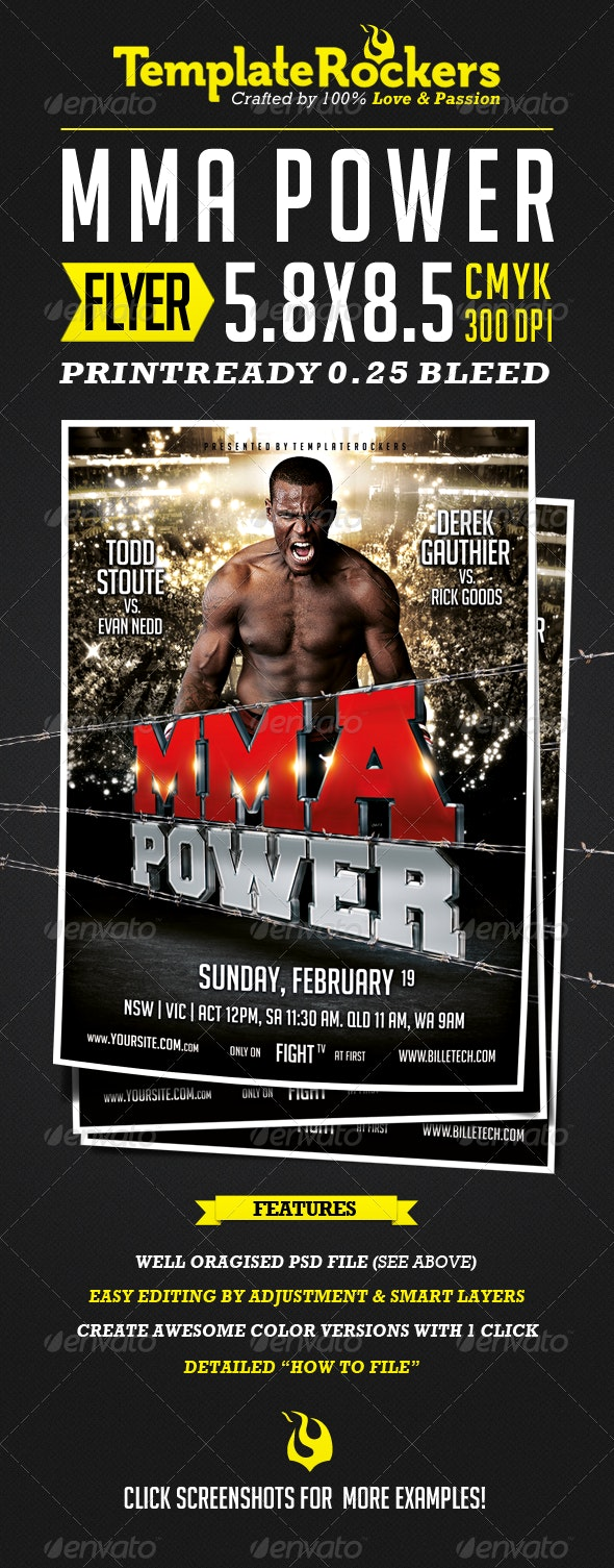 MMA - Power Fightsport Flyer  - Flyers Print Templates