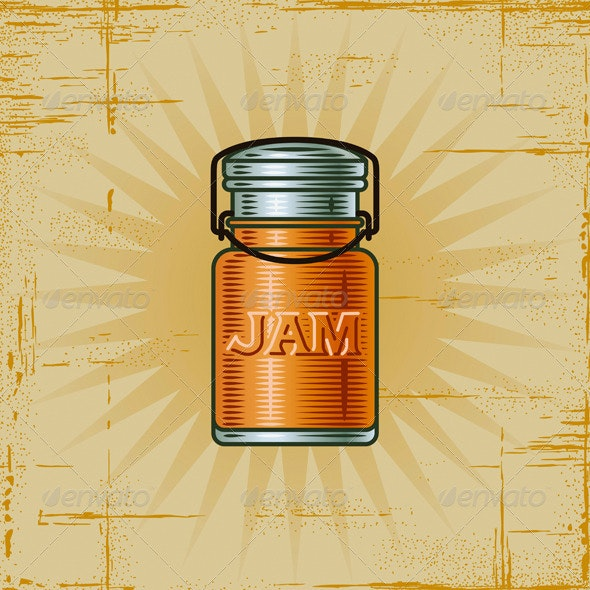 Retro Jam Jar - Food Objects