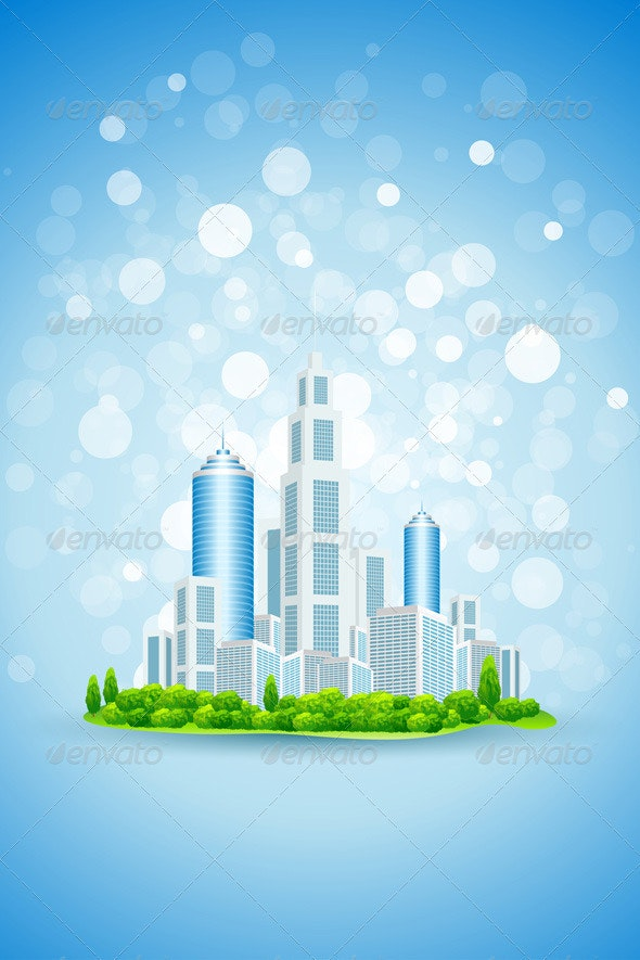 Business Background with Modern City - Backgrounds Business