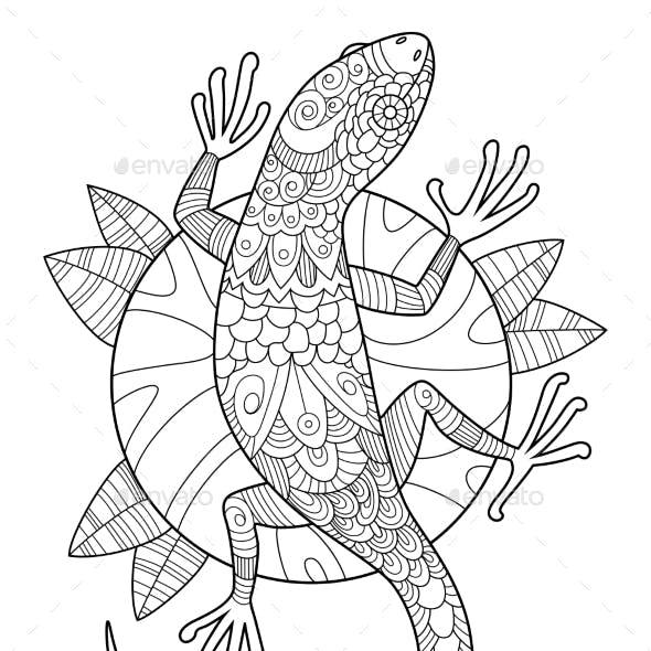 Lizard Coloring Book for Adults Vector