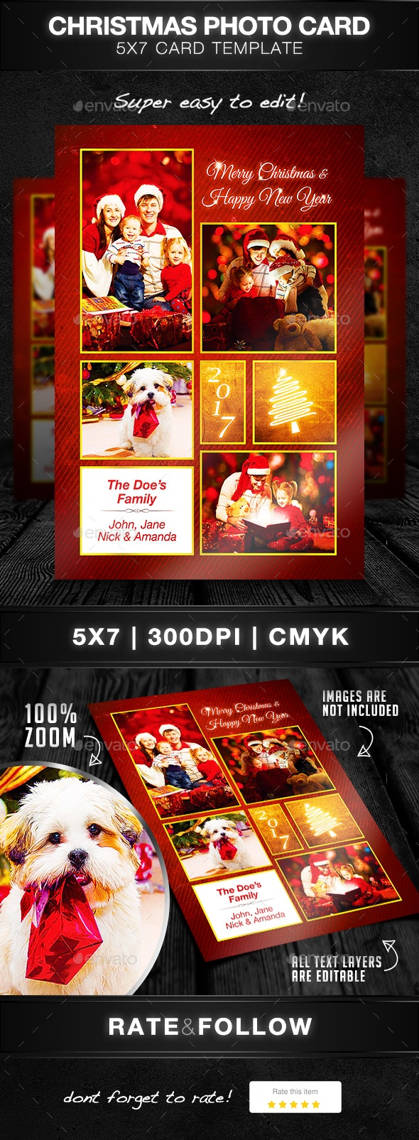 Christmas Photo Card Template - Holiday Greeting Cards
