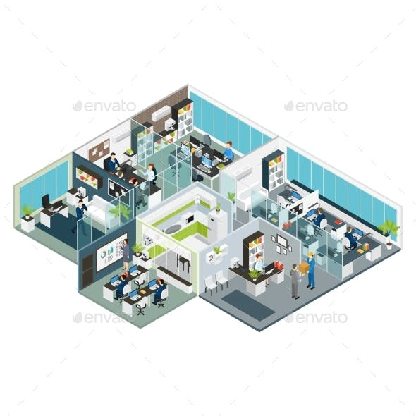 Set Room Office Isometric