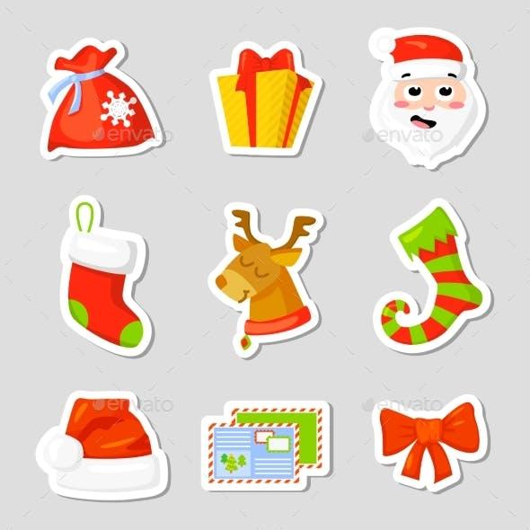 Christmas Icon Set Collection Vector. Cartoon. New