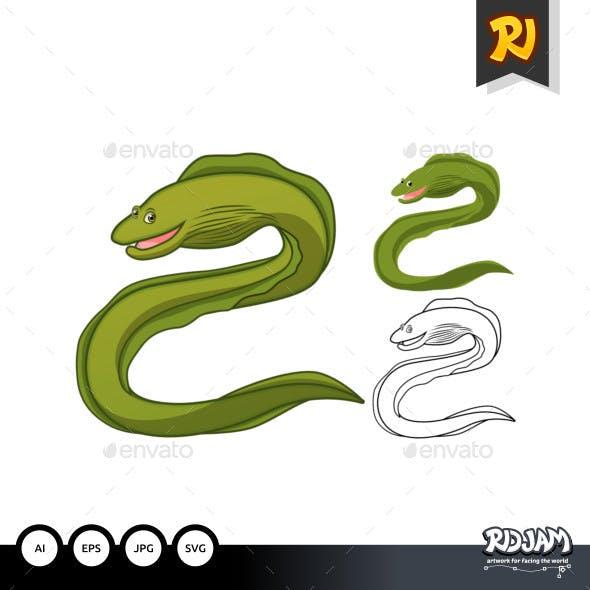 Moray Eel Cartoon Character
