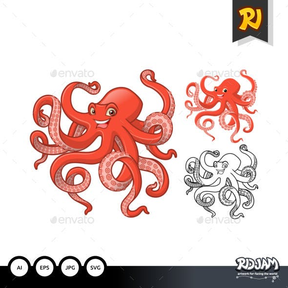 Octopus Cartoon Character
