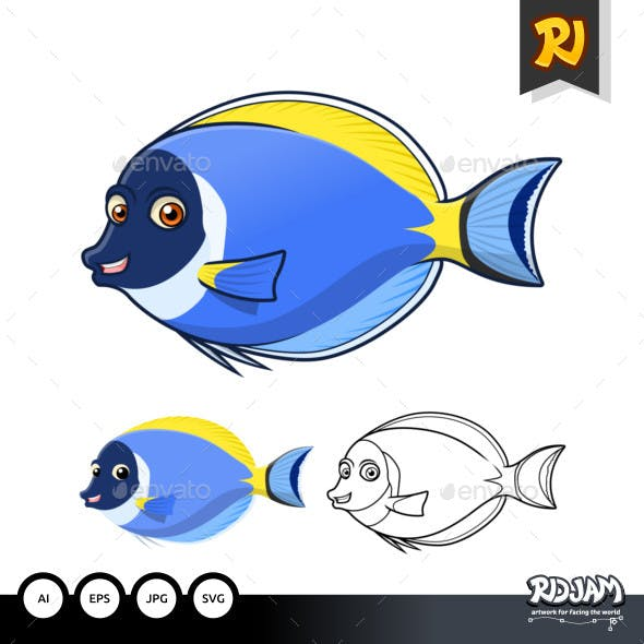 Powder Blue Surgeon Fish Cartoon Character