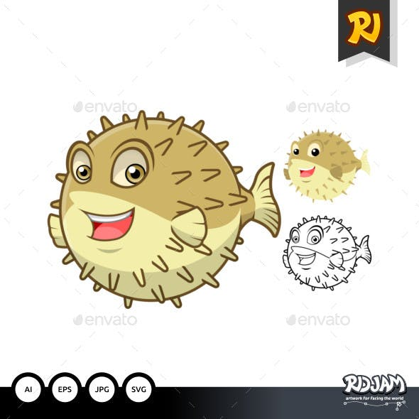 Puffer Fish Cartoon Character