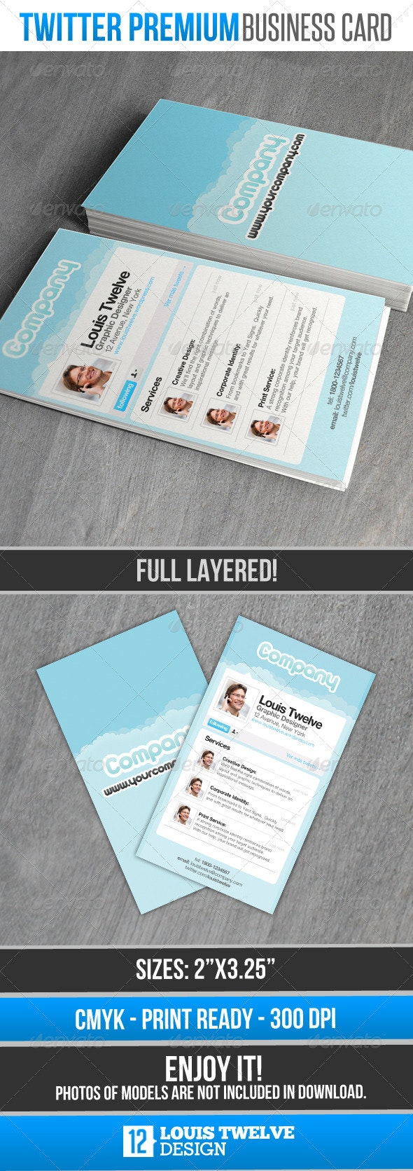 Twitter Premium - Card Business - Creative Business Cards