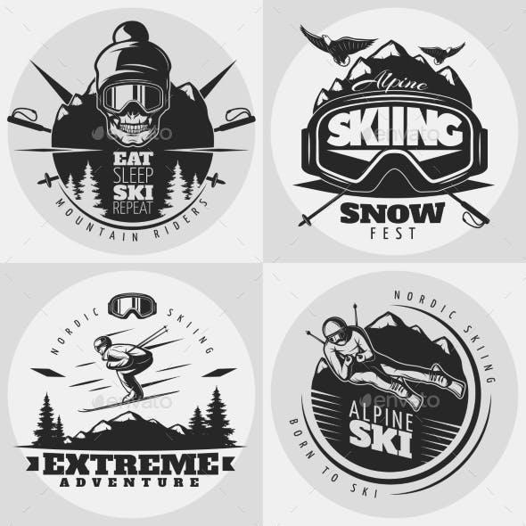 Skiing Emblem Design Composition