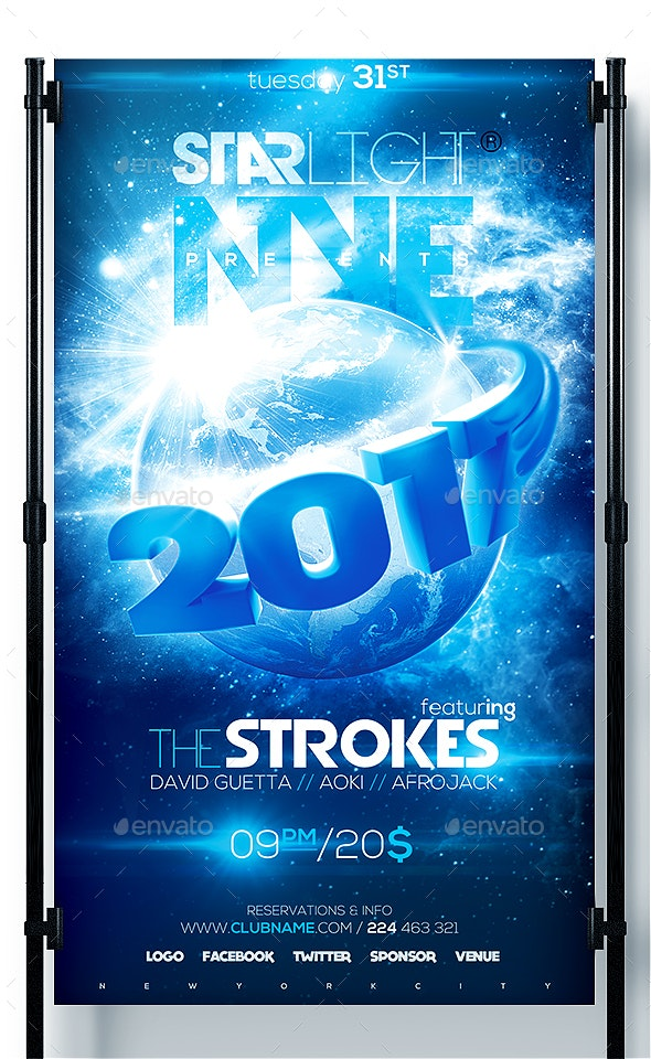 NYE Around The World New Year Flyer 2017 - Clubs & Parties Events
