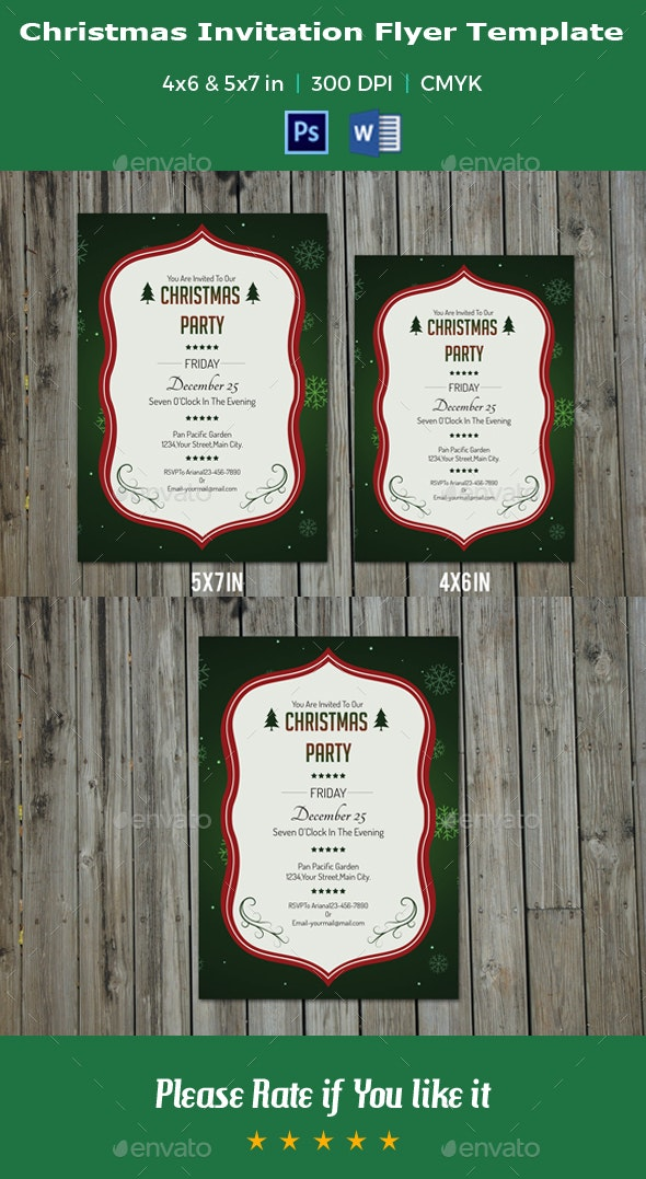 Christmas Invitation Flyer Template -V08 - Holidays Events
