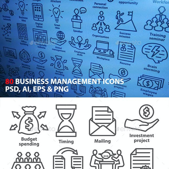 Business Management Icons in Line Style. Pack 3.