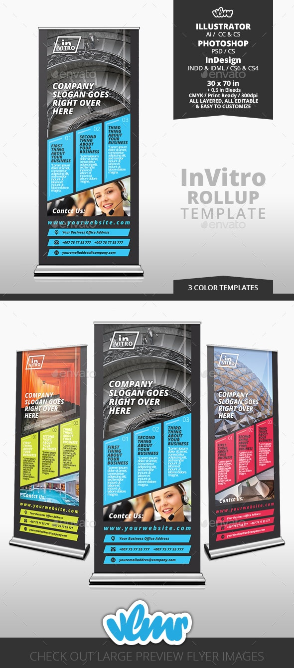 InVitro Rollup Banner Template - Signage Print Templates